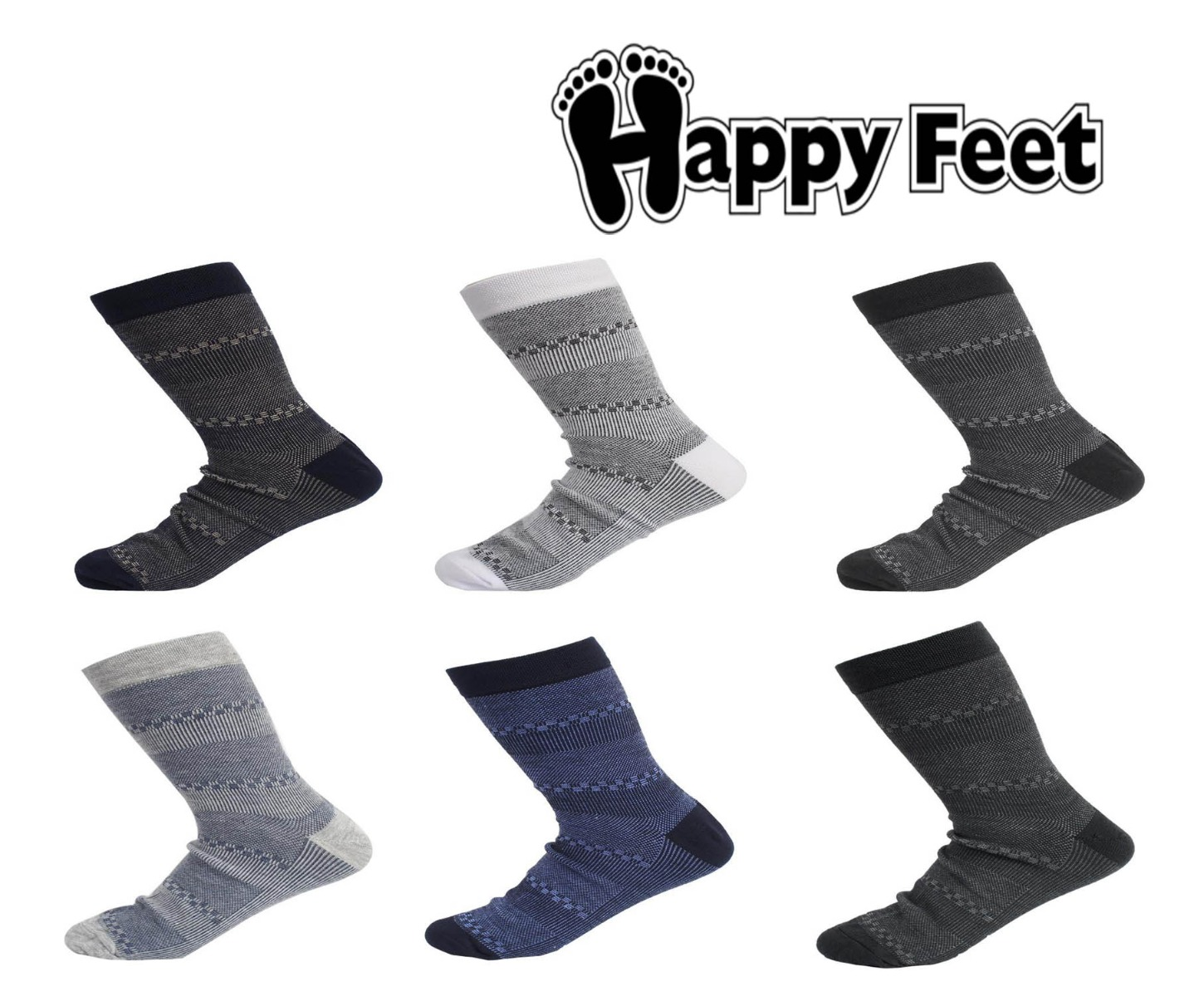 Happy Feet Pack of 6 Pairs of Pure Cotton Antibacterial Socks for Men (1035)