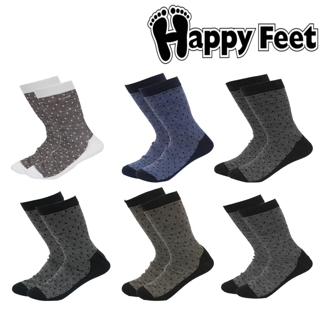 Happy Feet Pack of 6 Pairs of Pure Cotton Antibacterial Socks for Men (1038)