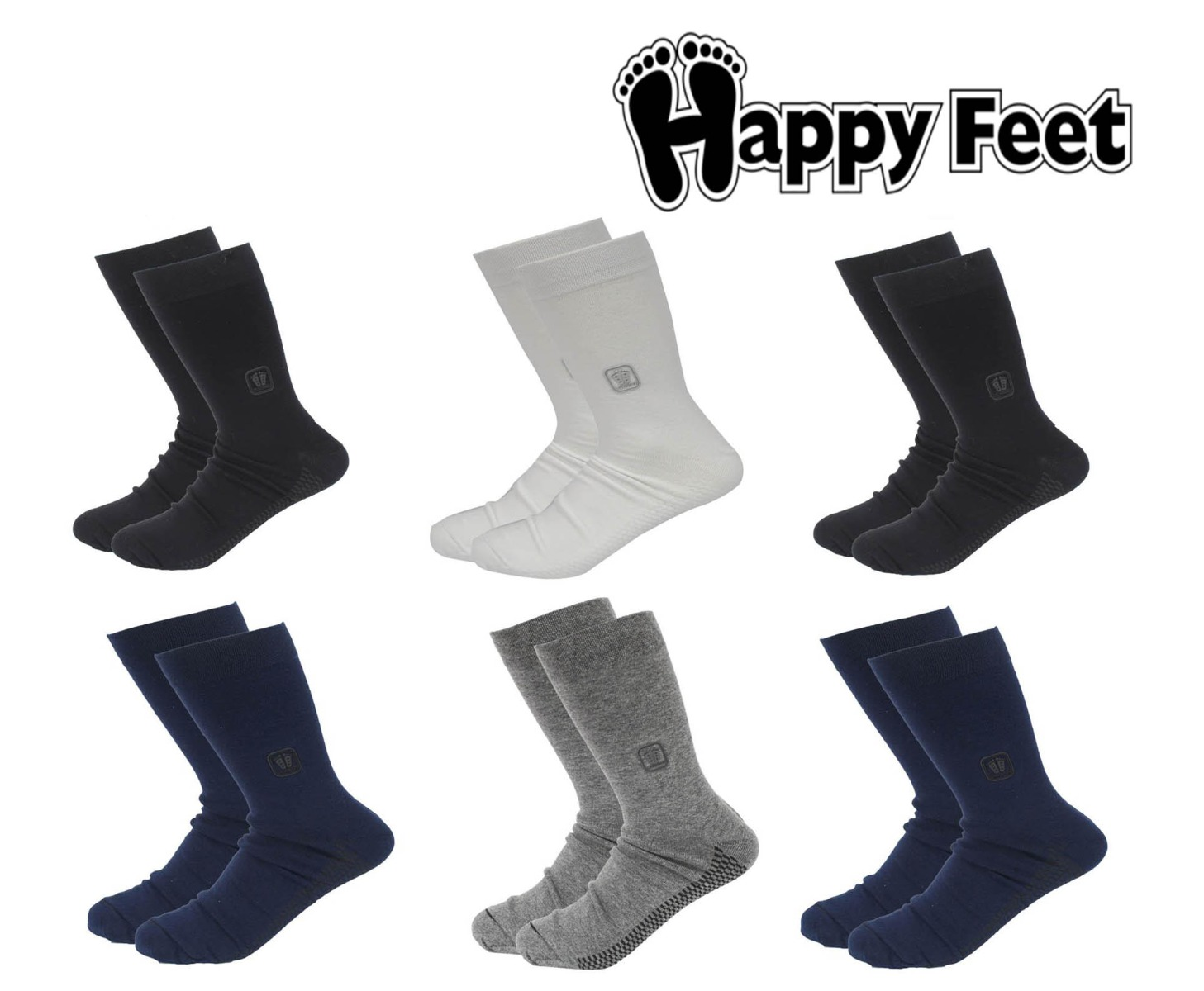 Happy Feet Pack of 6 Pairs of Pure Cotton Antibacterial Socks for Men (1039)