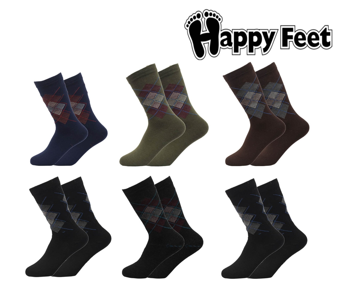 Happy Feet Pack of 6 Pairs of Spider Formal Socks for Men (1051)