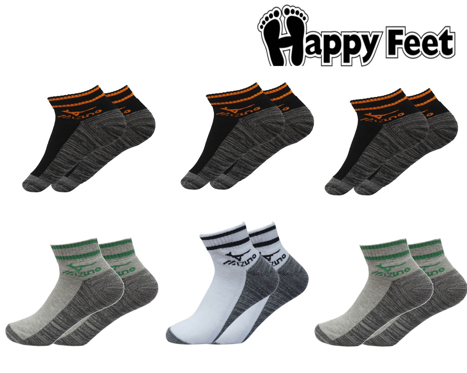 Happy Feet Pack of 6 Pairs of Roober Sports Cushion Ankle Socks (1056)