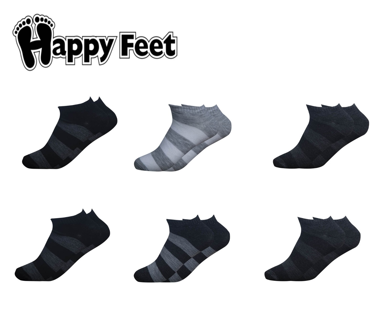 Happy Feet Pack of 6 Pairs of Striped Ankle Socks (1063)