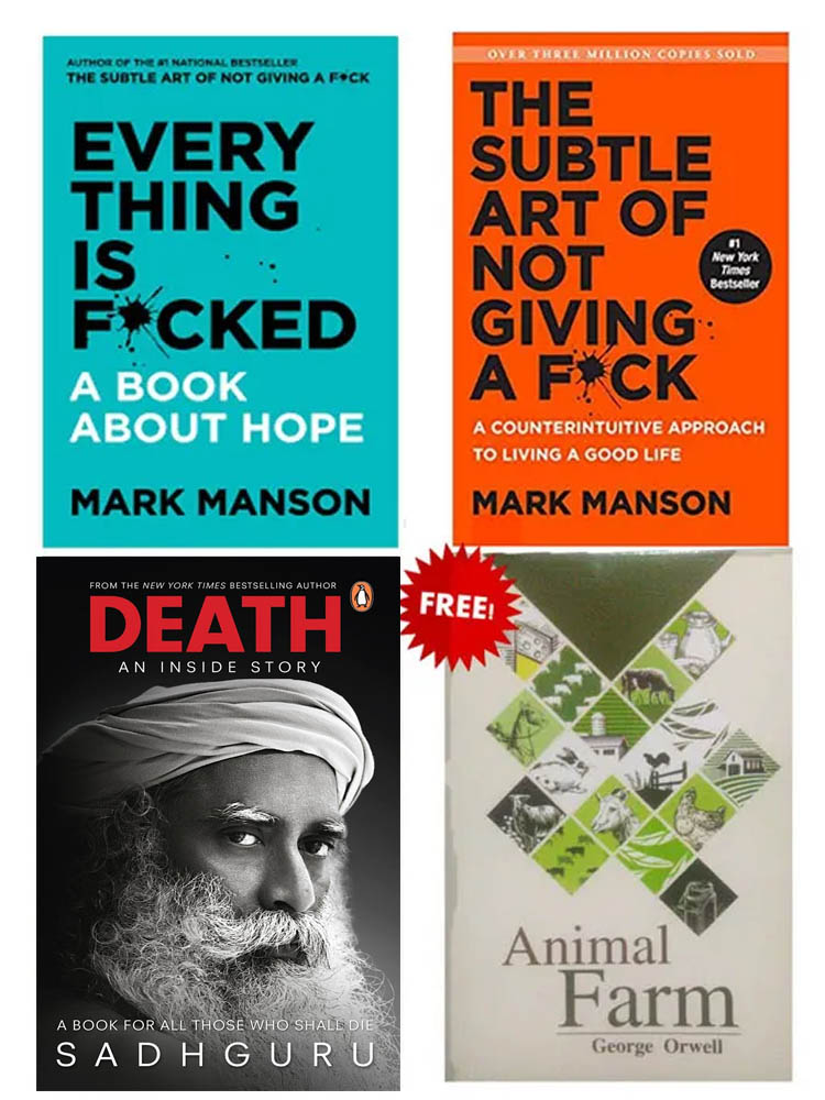 Buy 3 Get 1 Free (Death, Everything Is Fucked, The Subtle Art Of Not Giving A Fuck, Animal Farm)