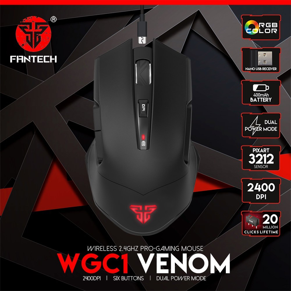 Fantech Wgc1 Wireless Mouse Charging Design Rgb And 2400Dpi Adjustable Gaming Mouse Pixart 3212 Game Chips For Mouse Gamer