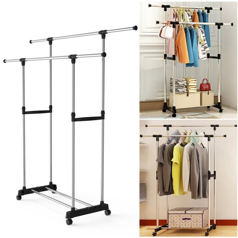 Double Pole Adjustable Stainless Steel Cloth Drying Hanger And Organizer Rack With Wheel For Indoor & Outdoor