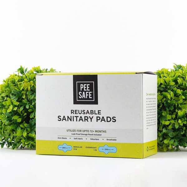 Pee Safe Resuable Sanitary Pads Pack of Four (Three Regular & One Overnight)