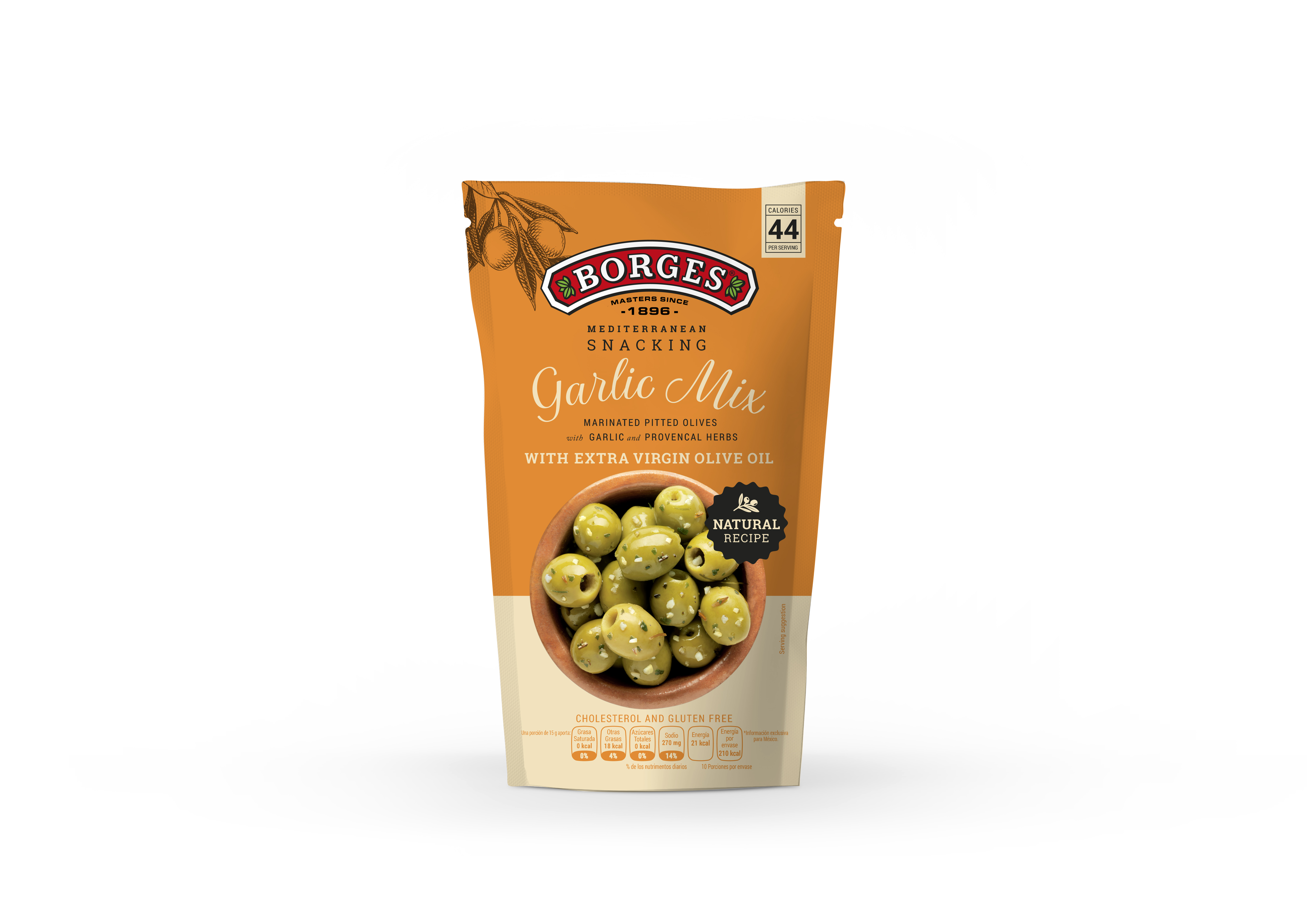 Borges Green Pitted Olives With Garlic