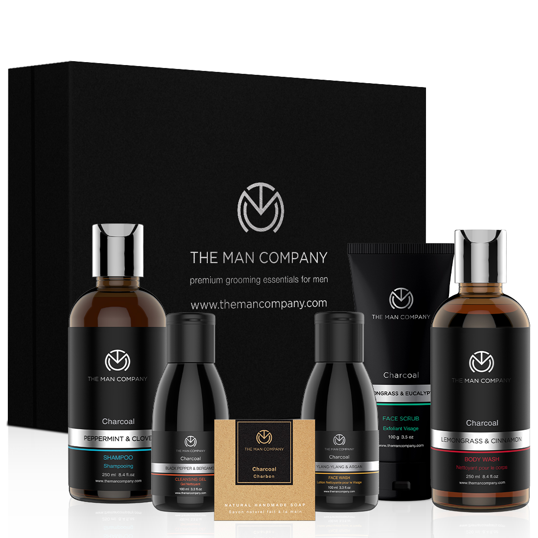 The Charcoal Gang- Charcoal Grooming Kit By The Man Company Packed In Elegant Gift Box