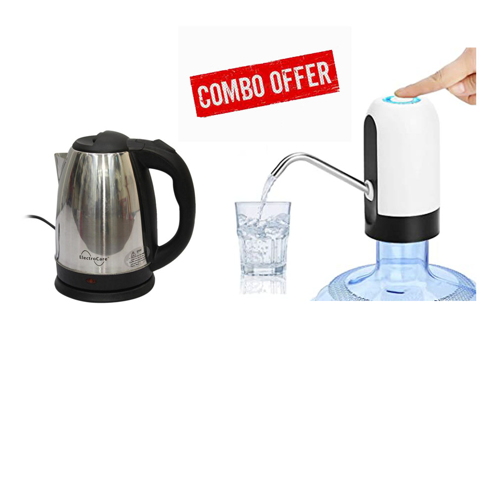 Combo Electro Care Stainless Steel Electric Kettle - 1.8Ltr and Universal Bottle Automatic Drinking Water Pump, Portable Camping Water Dispenser