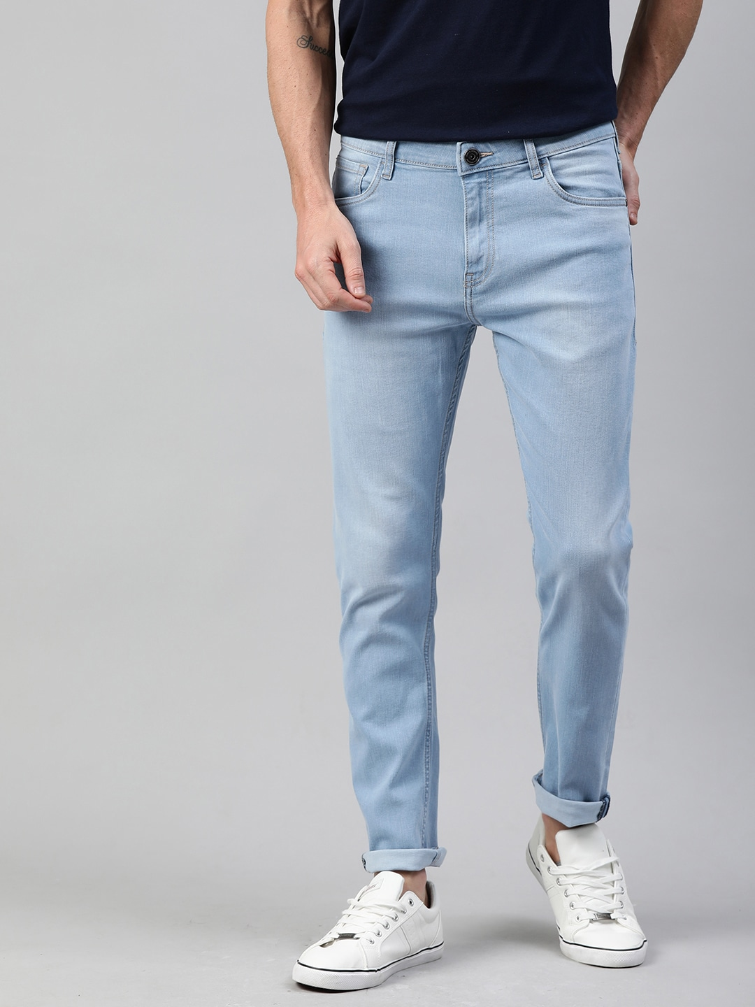 Mast & Harbour Men Blue Skinny Fit Mid-Rise Clean Look Stretchable Jeans-12116942