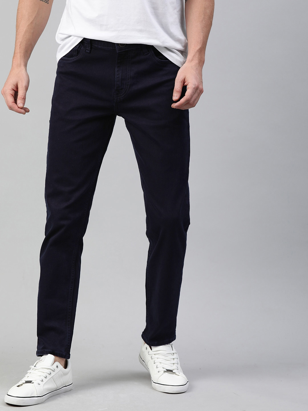 Mast & Harbour Men Blue Slim Tapered Fit Mid-Rise Clean Look Stretchable Jeans-12117020