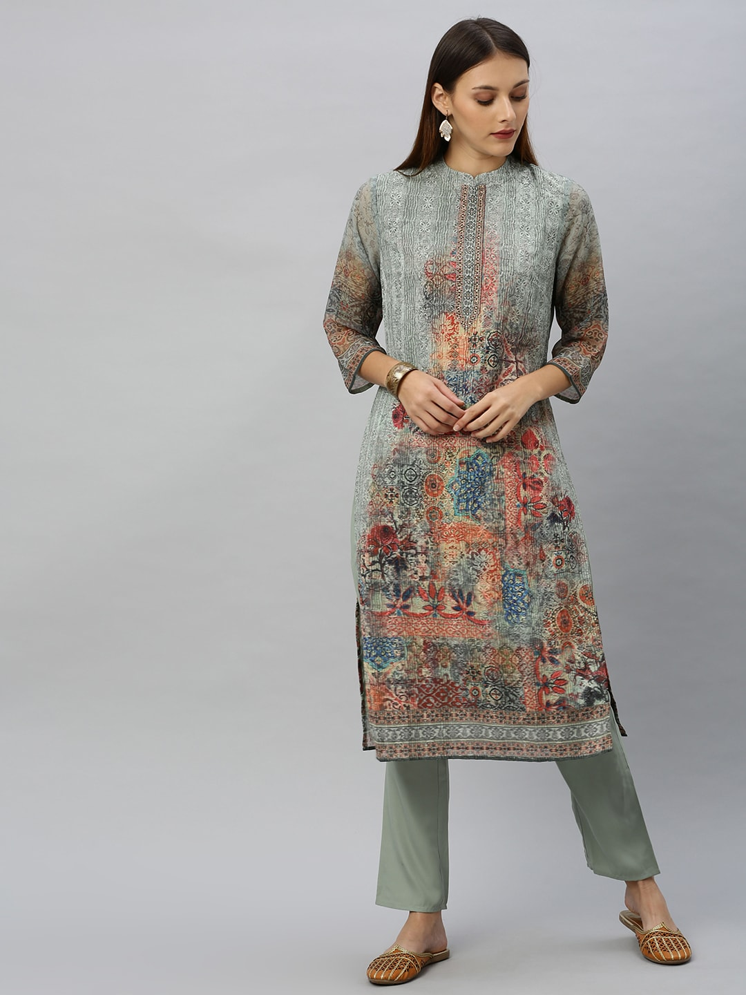 Anouk Women Grey & Red Embroidered Kurta with Trousers-11202368