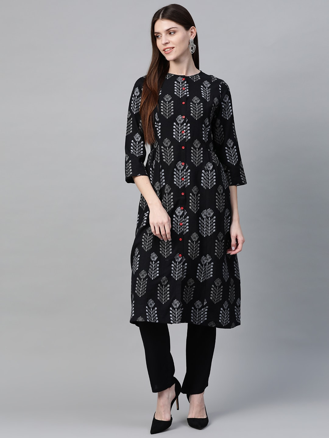 HERE&NOW Women Black & Charcoal Grey Printed Kurta with Trousers-12010646