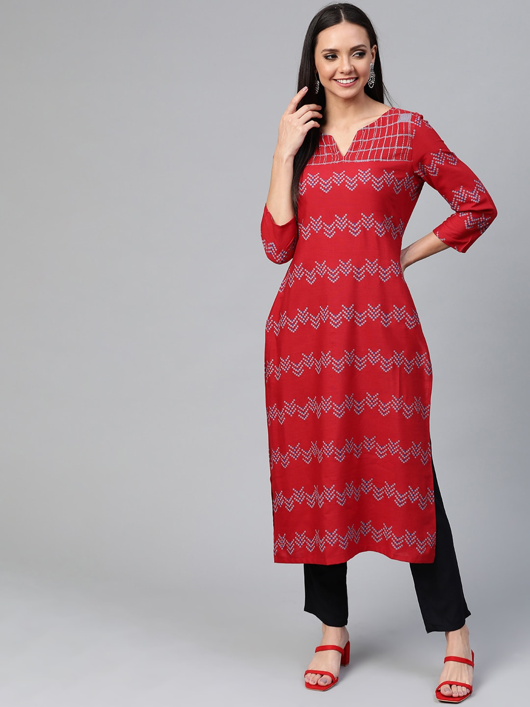 HERE&NOW Women Red & Black Printed Kurta with Trousers-12010684