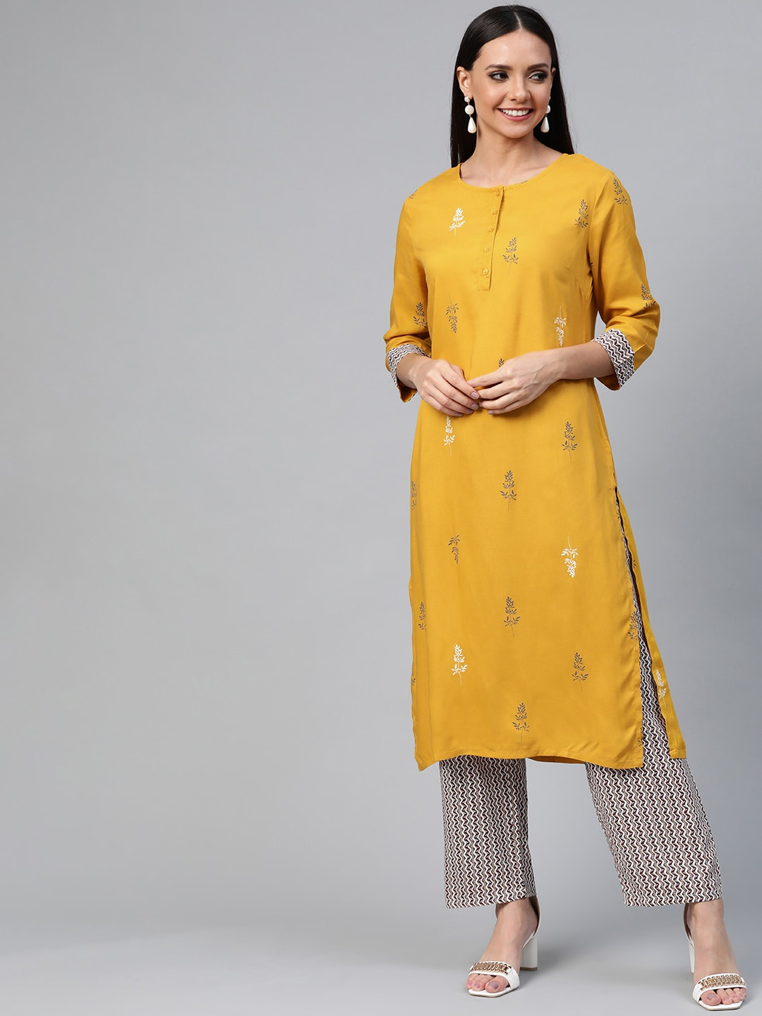 HERE&NOW Women Mustard Yellow & Brown Printed Kurta with Trousers-12010694