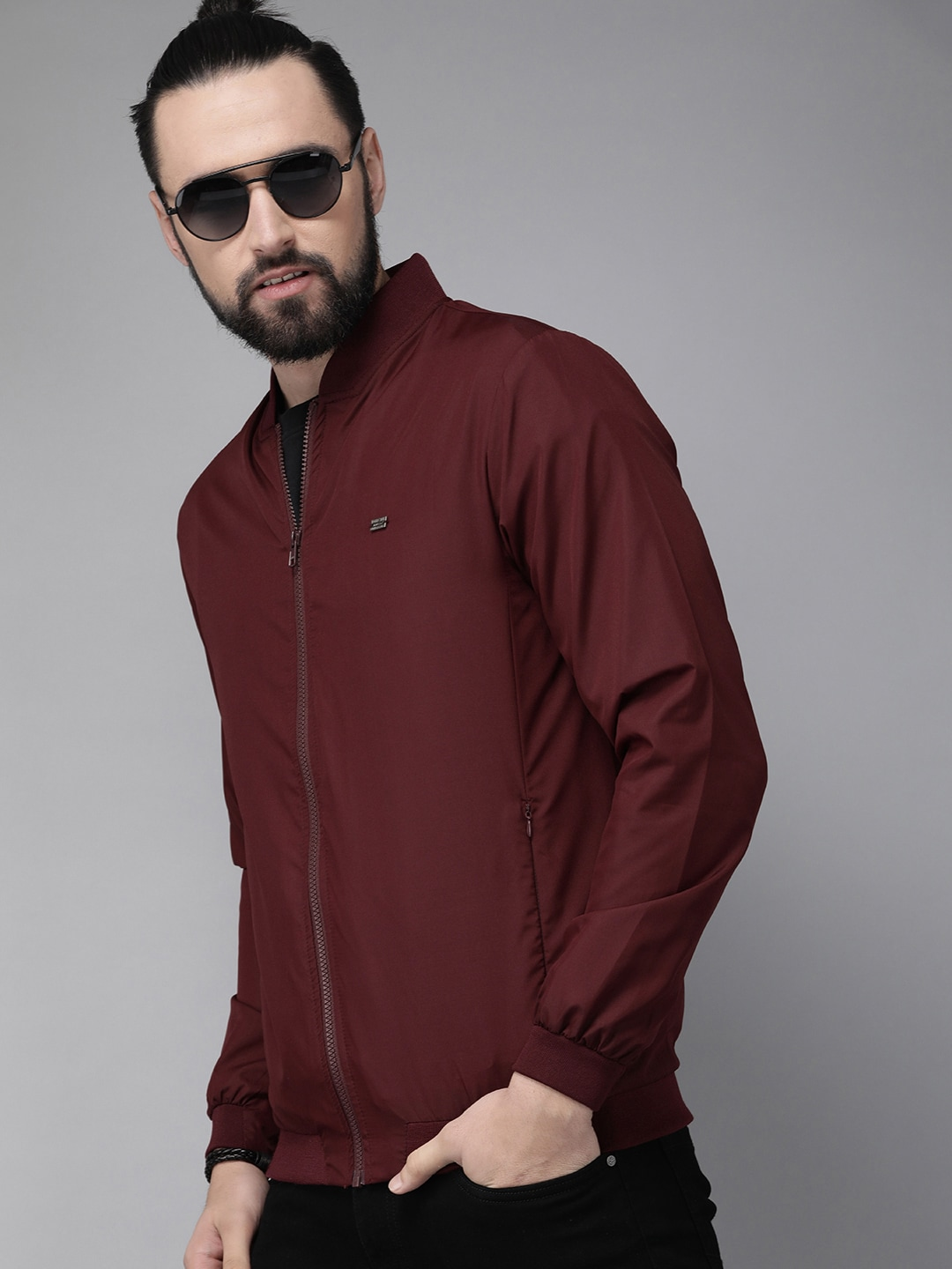 Roadster Men Maroon Solid Jacket-10091941
