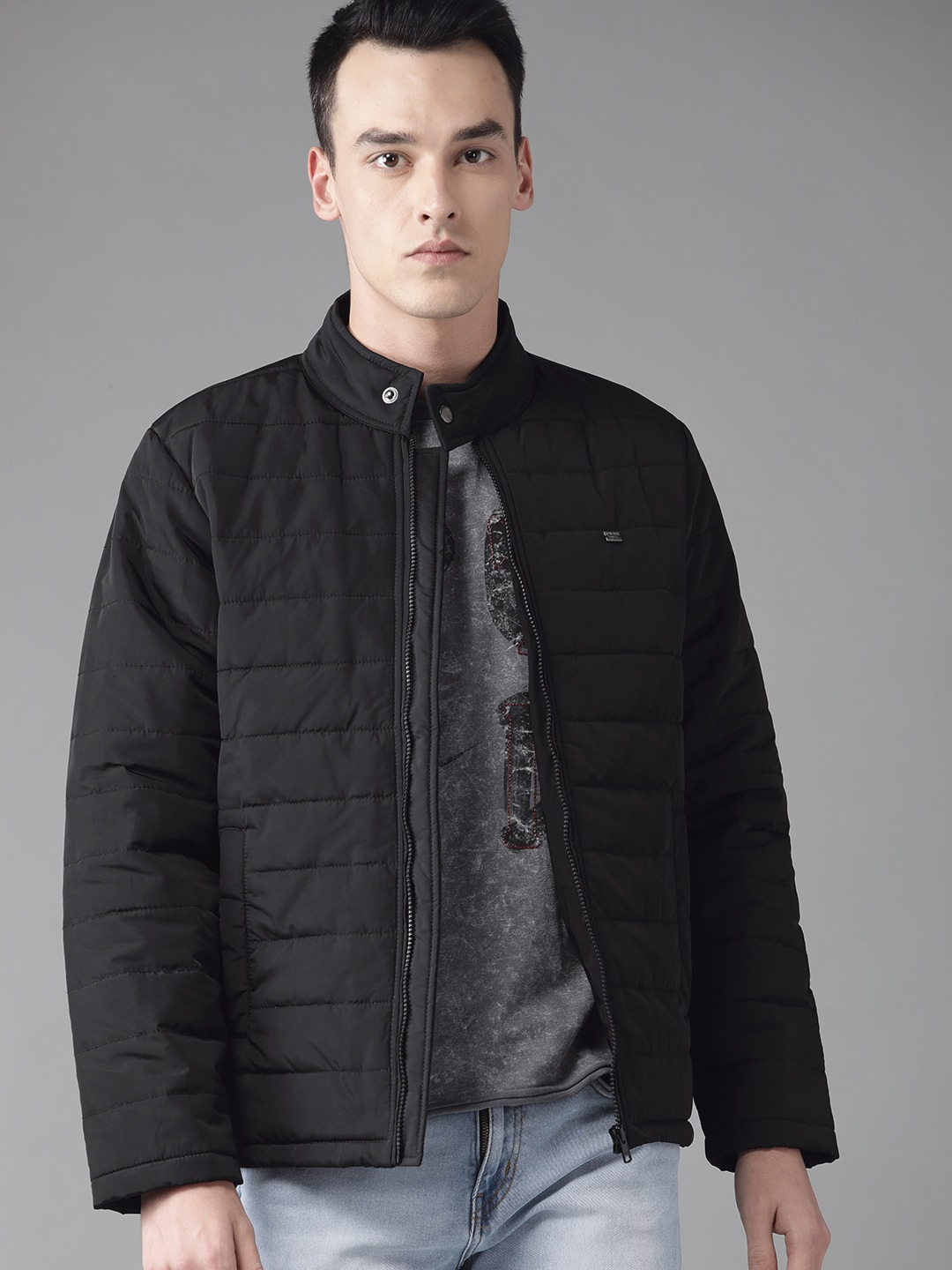 Roadster Men Black Solid Padded Jacket-10968438