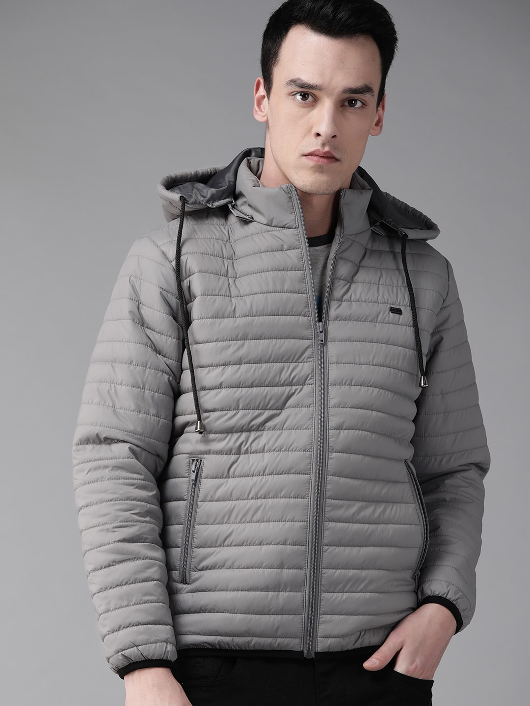 Roadster Men Grey Solid Quilted Jacket with Detachable Hood-10968486