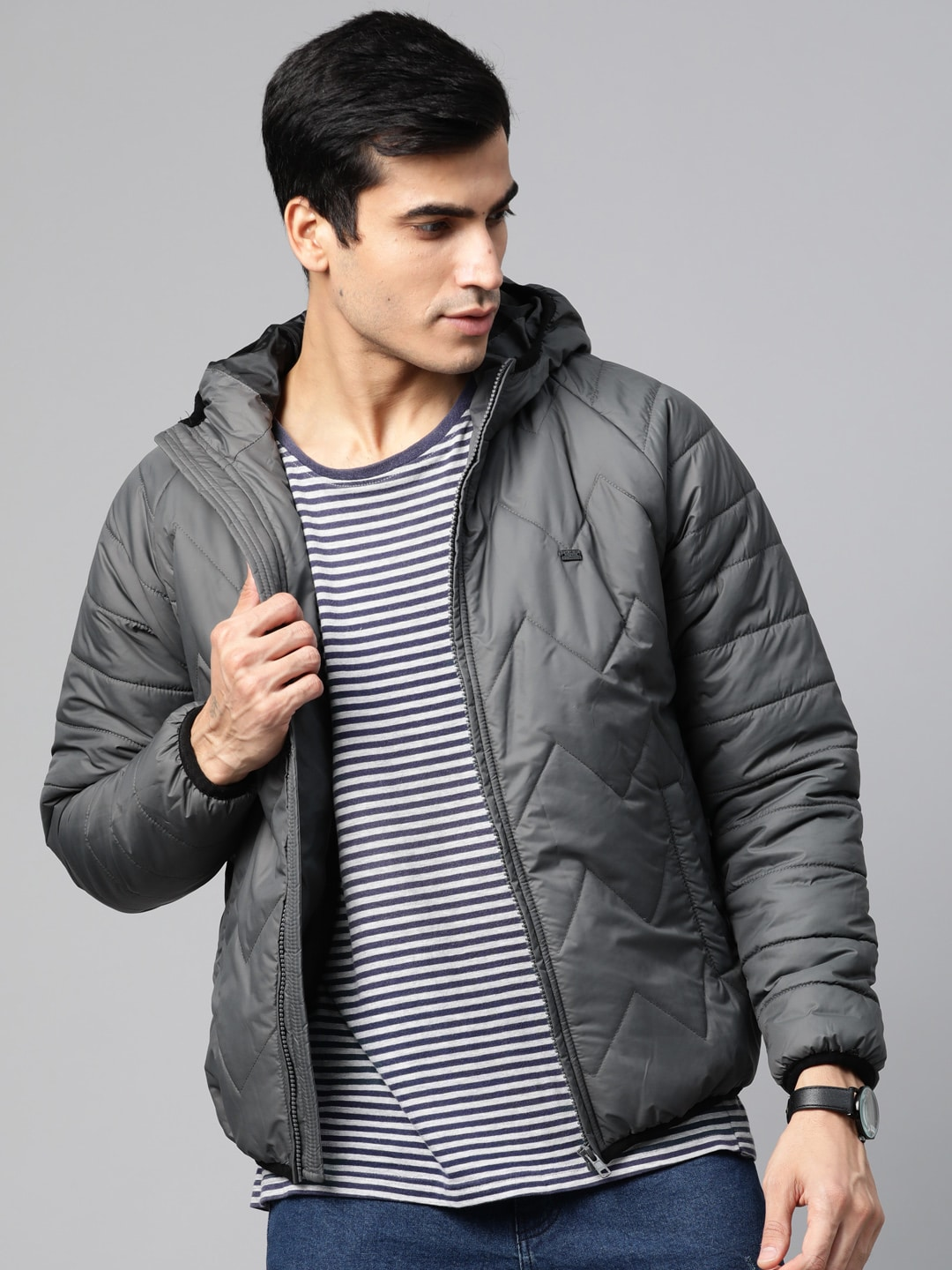 Roadster Men Charcoal Grey Solid Hooded Quilted Jacket-12111404