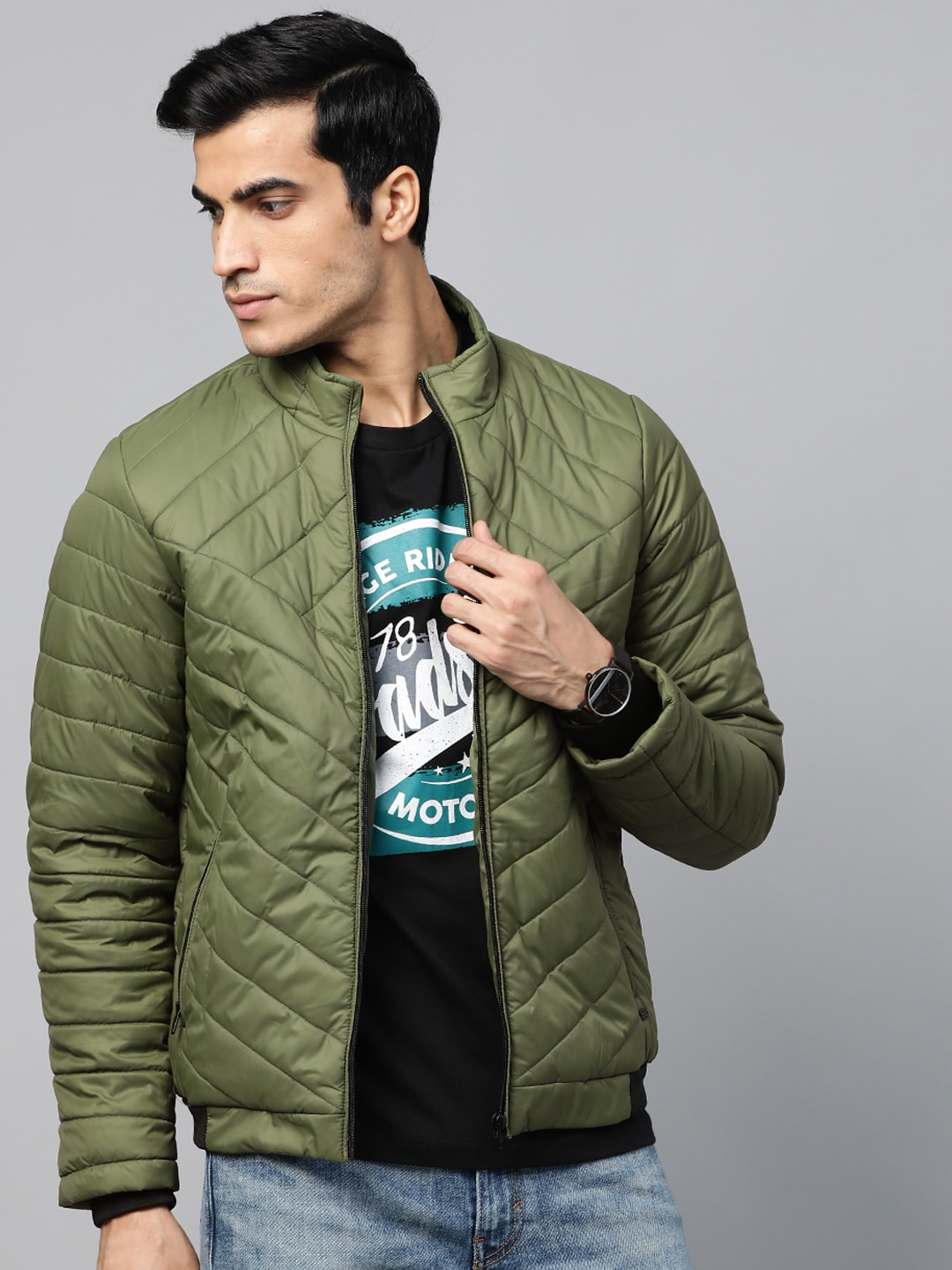 Roadster Men Olive Green Quilted Bomber Jacket-12111494