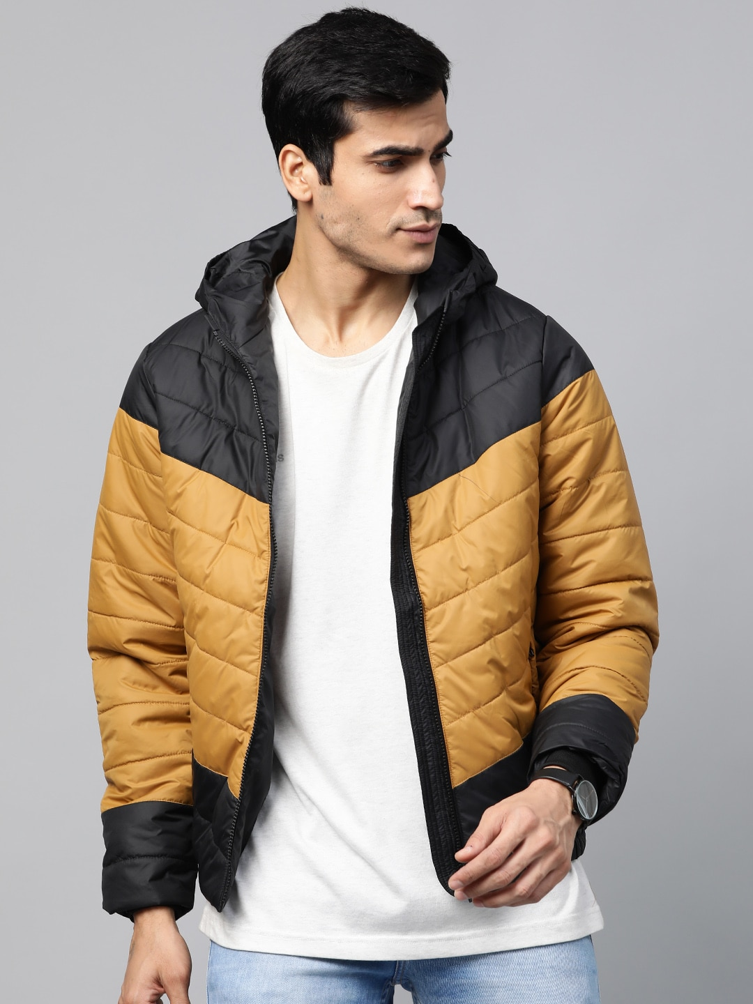 Roadster Men Mustard Yellow & Black Colourblocked Hooded Padded Jacket-12111616