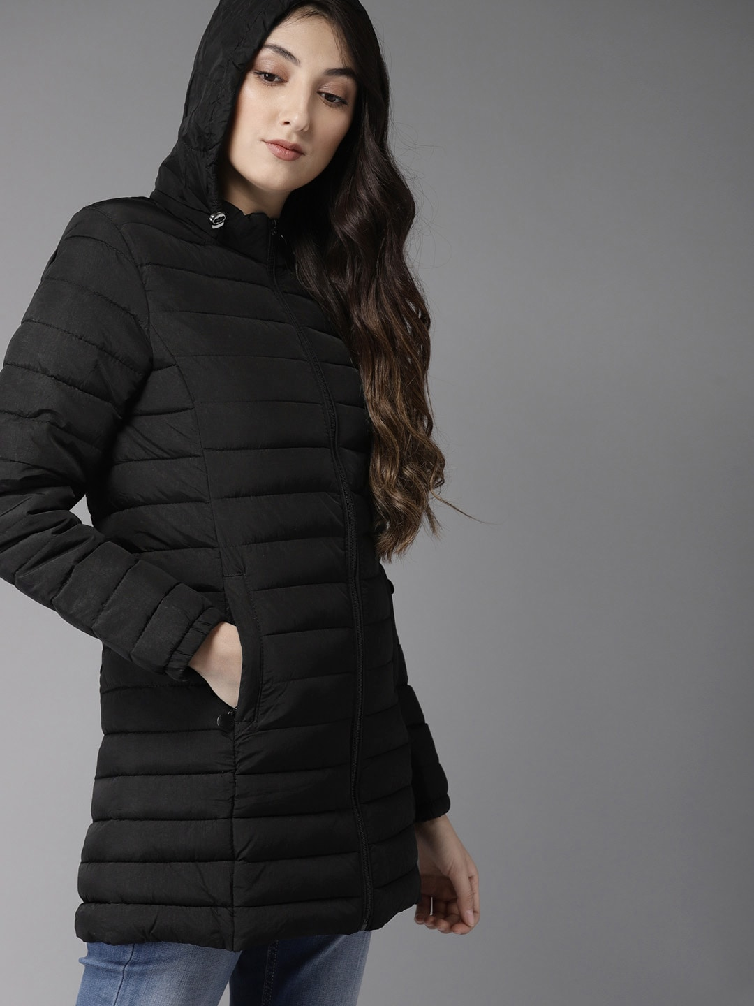 HERE&NOW Women Black Solid Padded Jacket-6789003