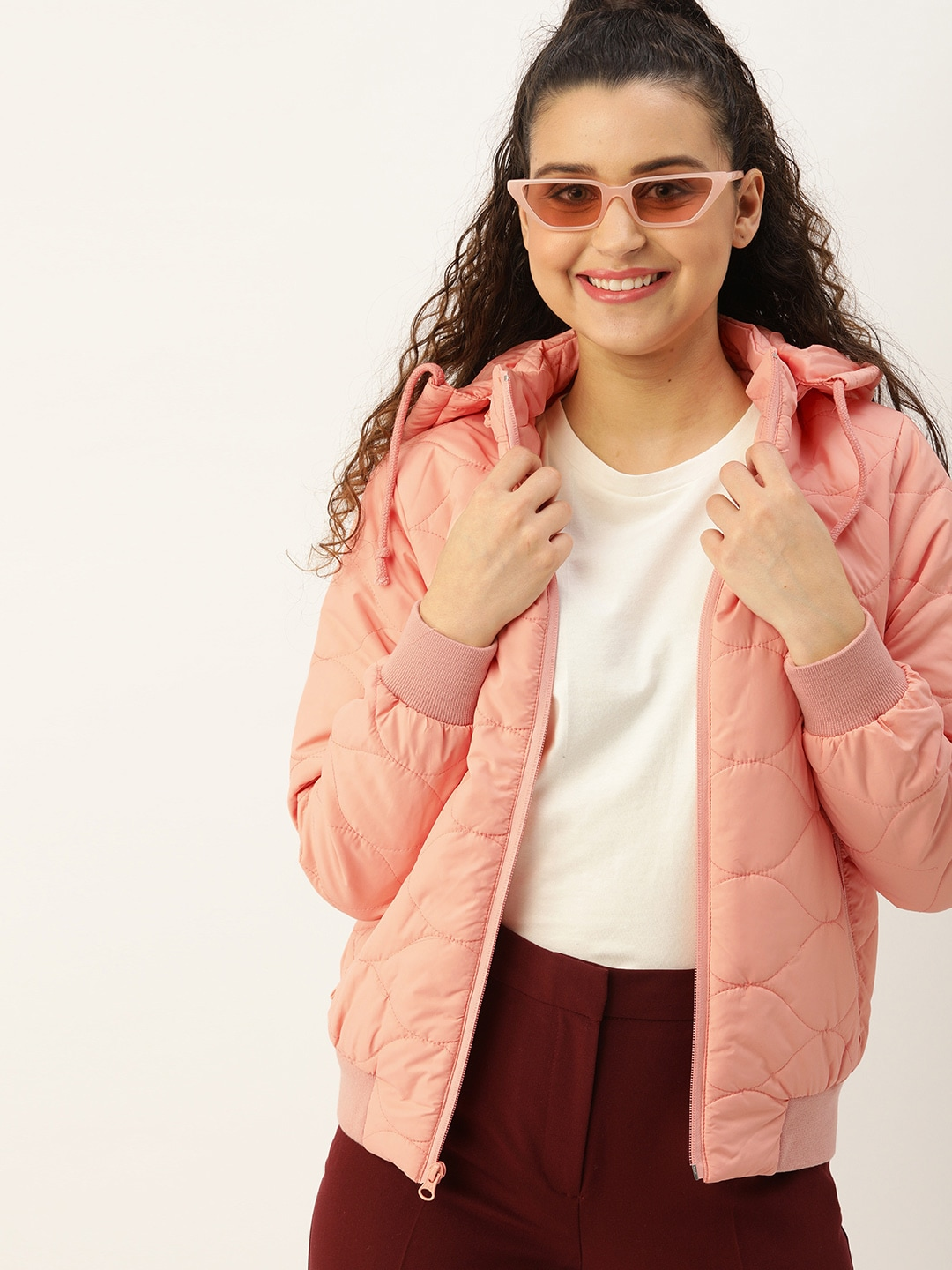 DressBerry Women Peach-Coloured Solid Hooded Padded Jacket-9401009