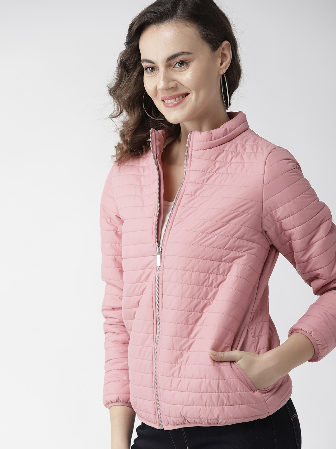 Mast & Harbour Women Pink Solid Padded Jacket-9690865