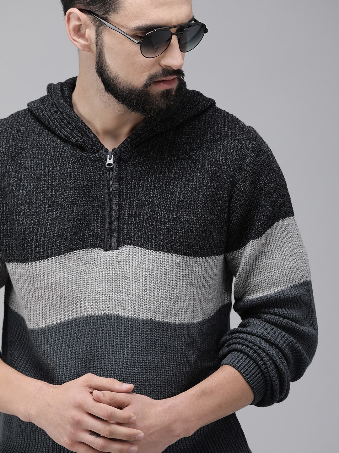 Roadster Men Black & Charcoal Grey Colourblocked Pullover Hooded Sweater-10111329