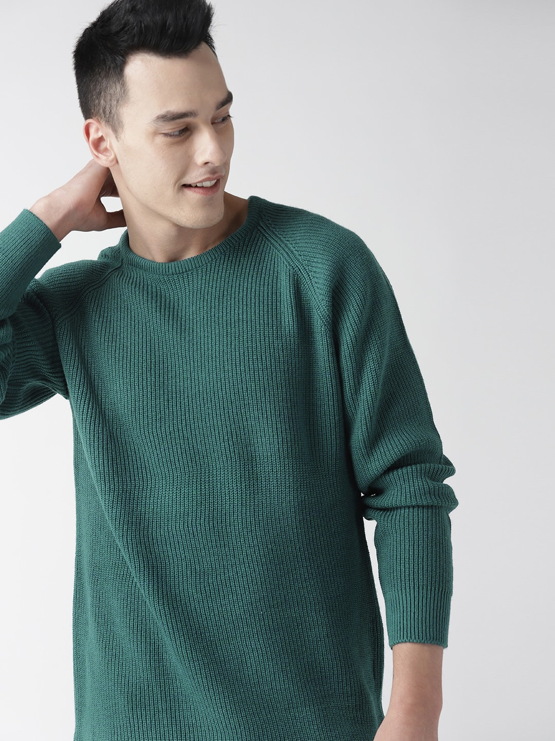 Mast & Harbour Men Teal Green Ribbed Sweater-10323045