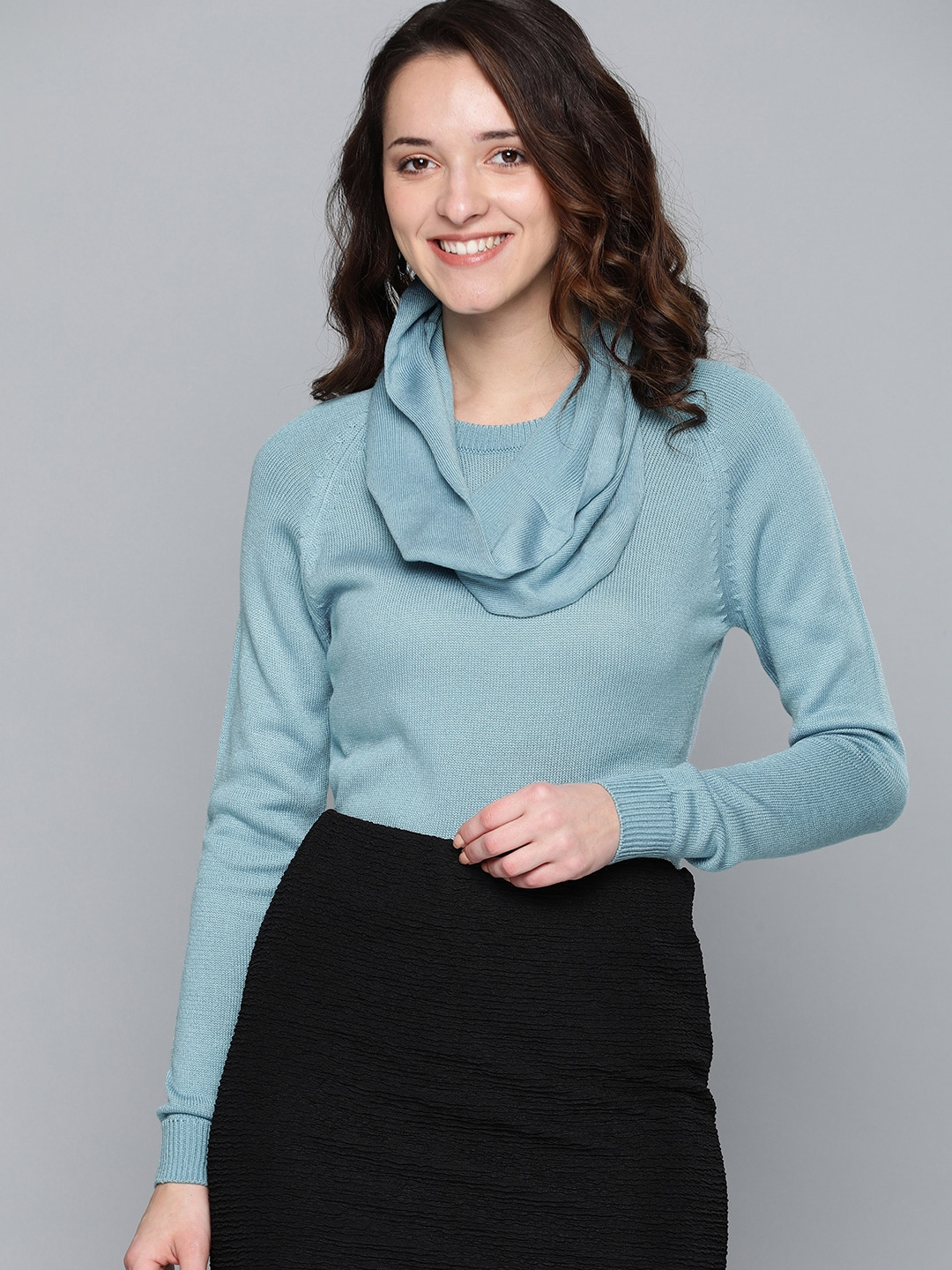 HERE&NOW Women Blue Solid Sweater-10620240