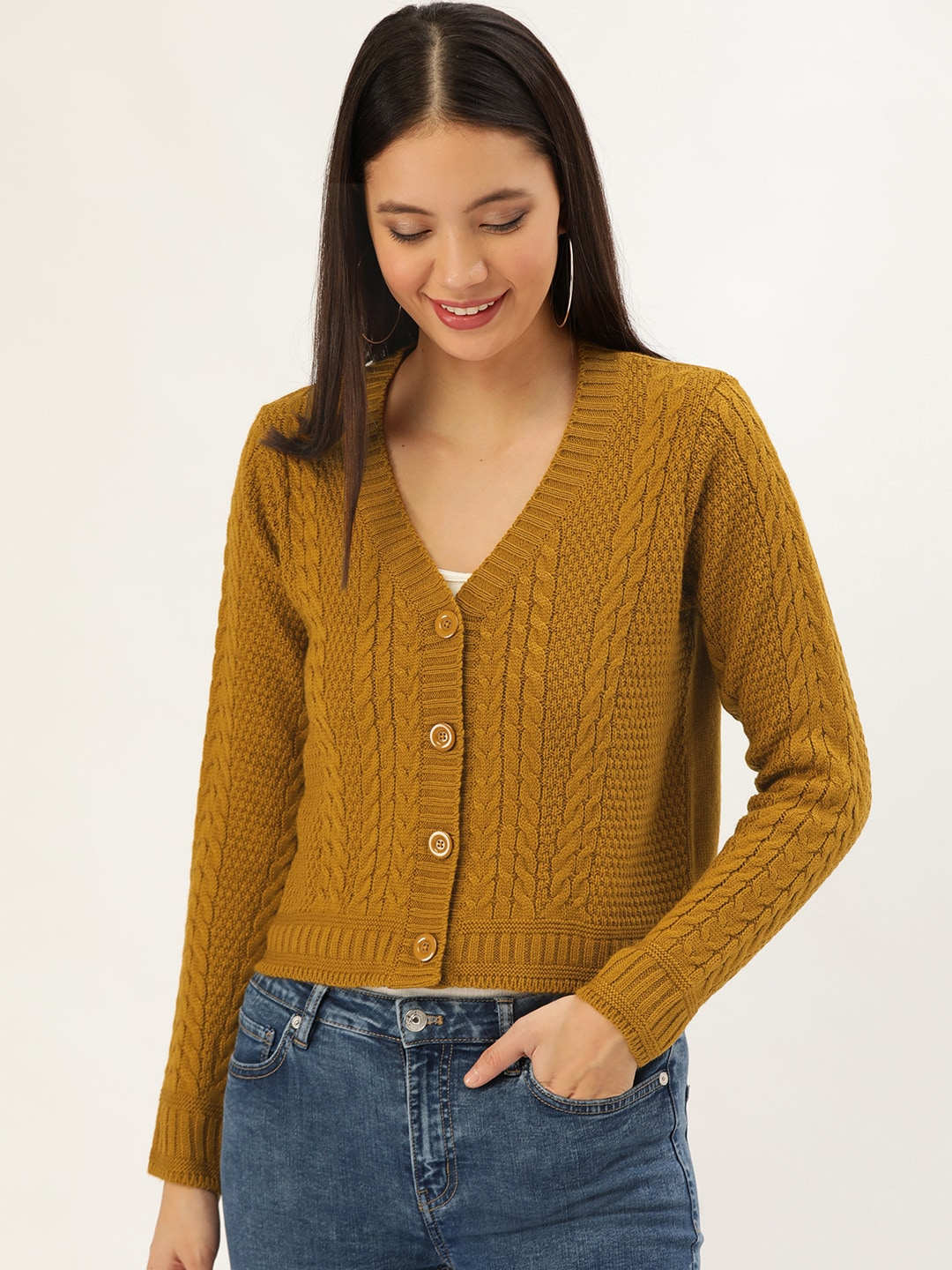 DressBerry Women Mustard Brown Cable Knit Cardigan-11951448