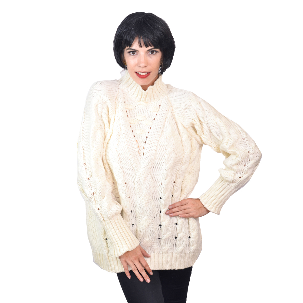 SA LANA Knit Off White Spartoo Thick Sweater