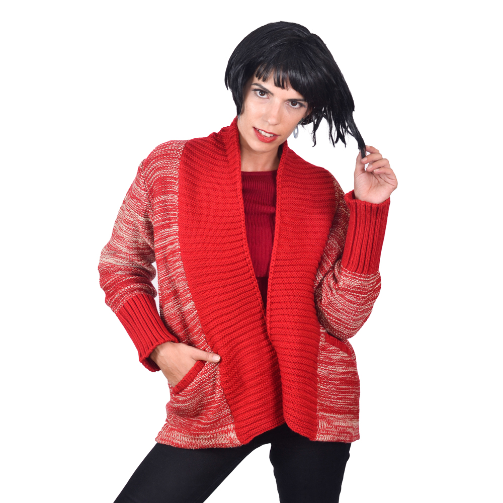 SA LANA Knit Red/Beige Long Cardigan With Tuck Knit Sleeve