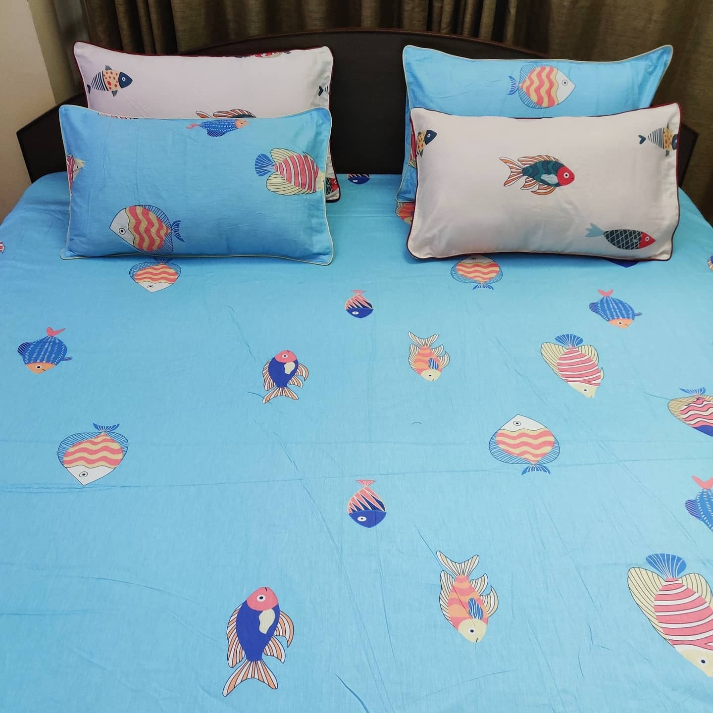 Blue Base Fish French Cotton Bedsheet Set with 2 pillow cover - King (6x6.5)