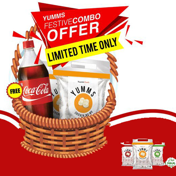 Yumms Combo#1 Buy 3 Packet Chi/Buff(50 piece of Packet) Get 1.5Ltr Coke Free