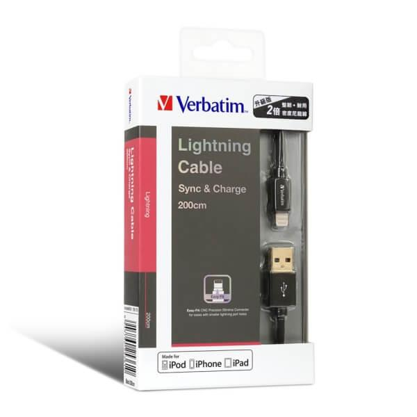 Verbatim 200 cm Step-up Lightning Cable - Black