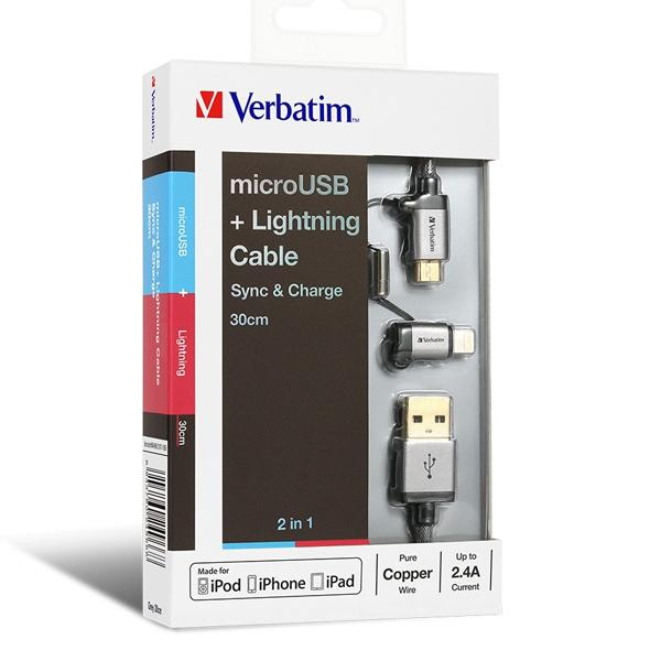 Verbatim Micro USB and Lightning 2in1 Cable (65362)