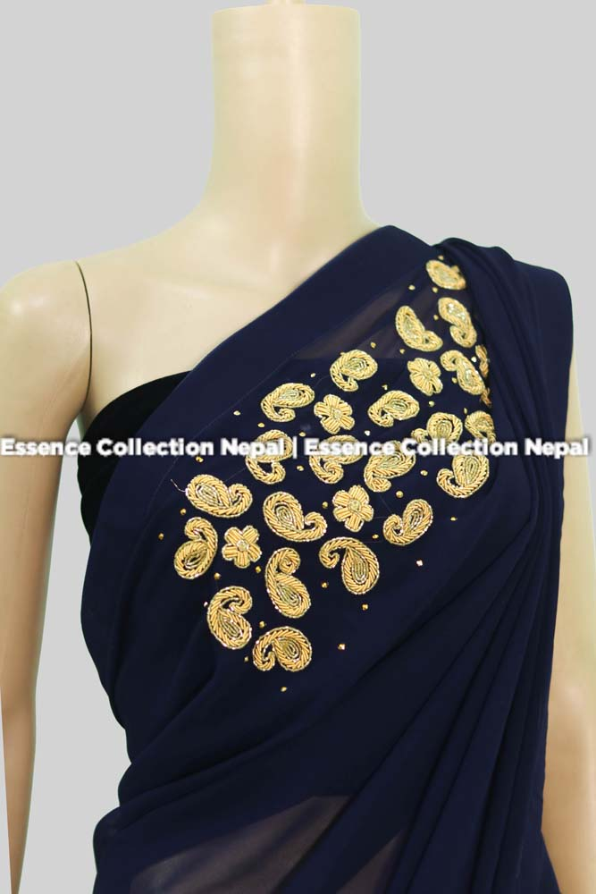 Royal Blue Georgette Sari With Shoulder Embriodery