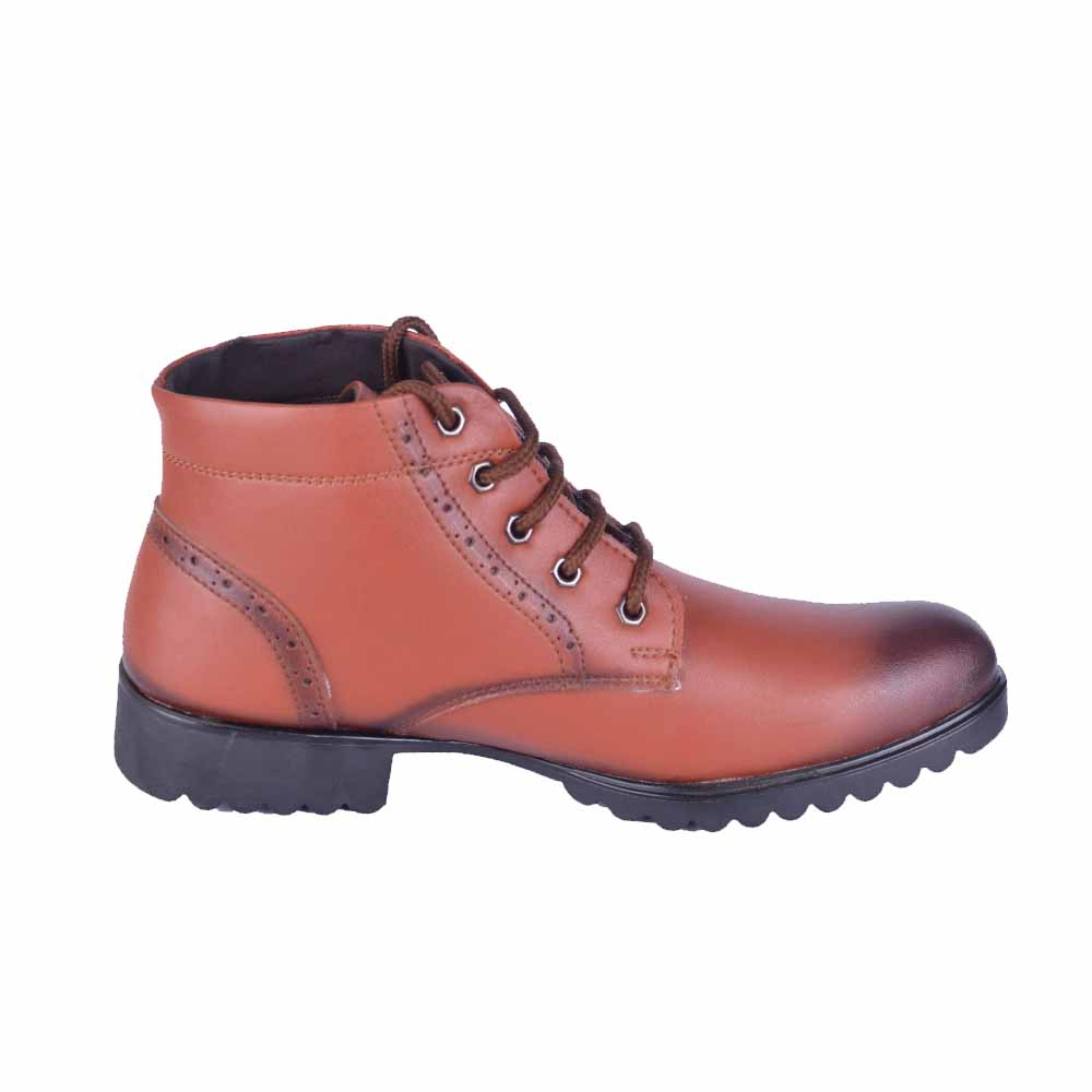 Run Shoes Brown Tough Leather Boots 2174Br For Men