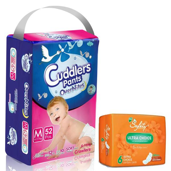 Cuddlers Eco-Pack Pant Style Diaper Medium (52Pcs) With Free Safety Ultra Sanitary Pads