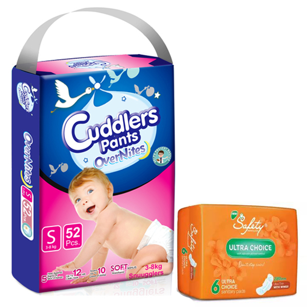 Cuddlers Eco-Pack Pant Style Diaper Small (52Pcs) With Free Safety Ultra Sanitary Pads