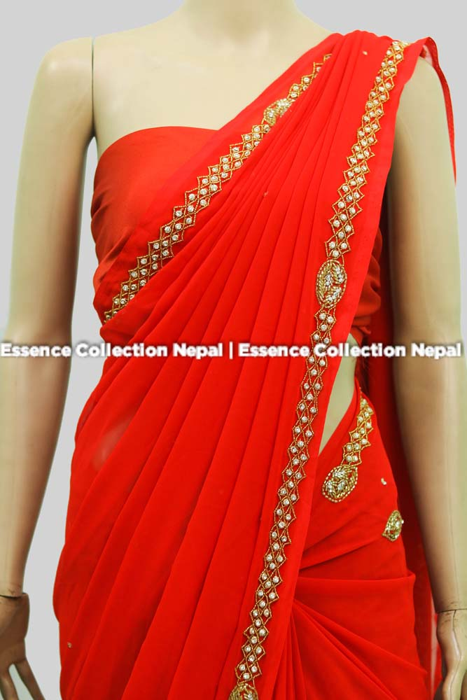 Red Georgette Sari With Heavy Boarder Embriodery