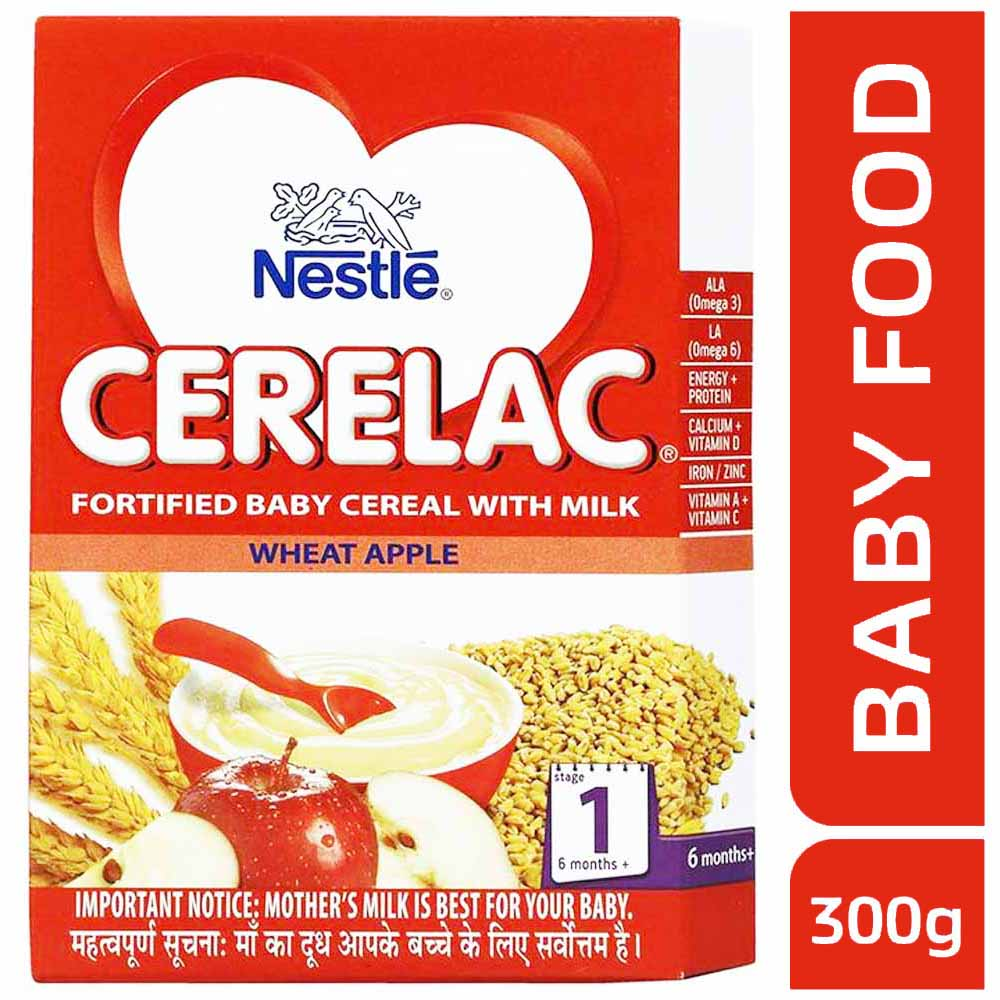 Nestle Cerelac Stage 1 Fortified Baby Cereal With Milk Wheat Apple 300g