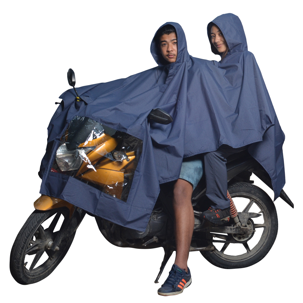Navy Blue Double Layer Raincoat with Hood