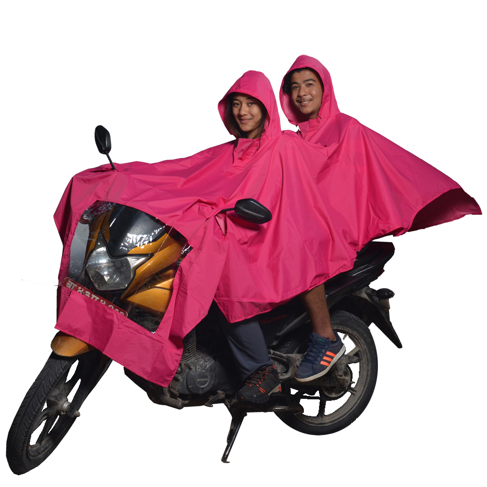 Pink Double layer Raincoat with Hood