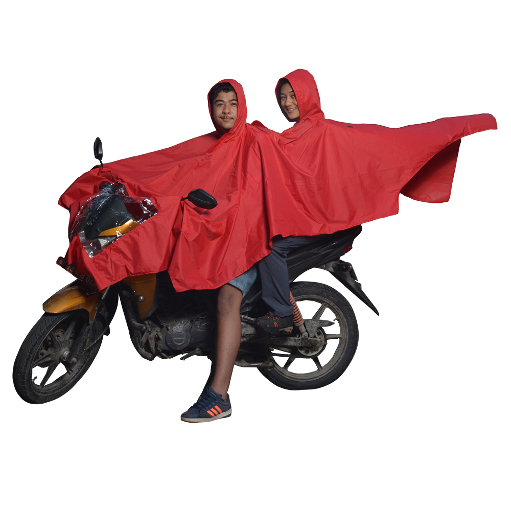 Red Double Layer Raincoat with Hood
