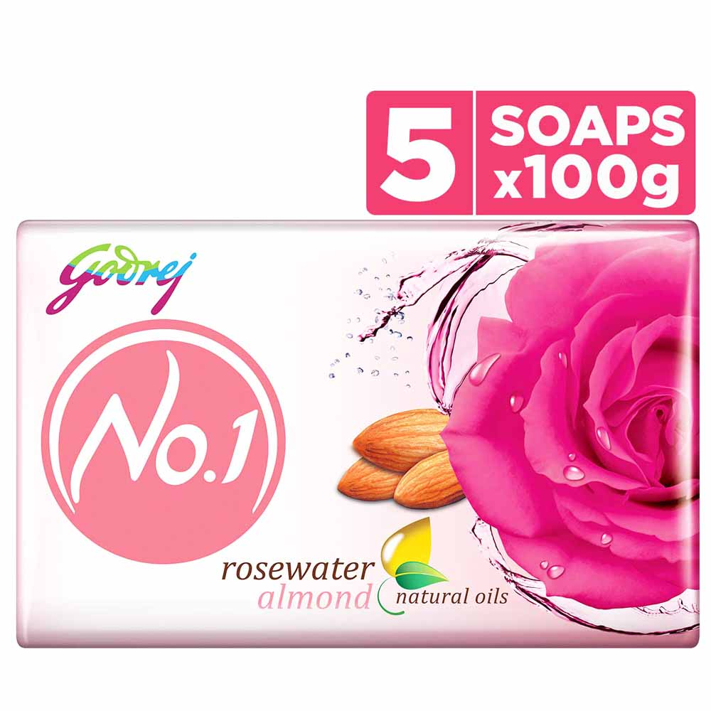 Pack of 5 No 1 Soap 100 gm Rosewater & Almond