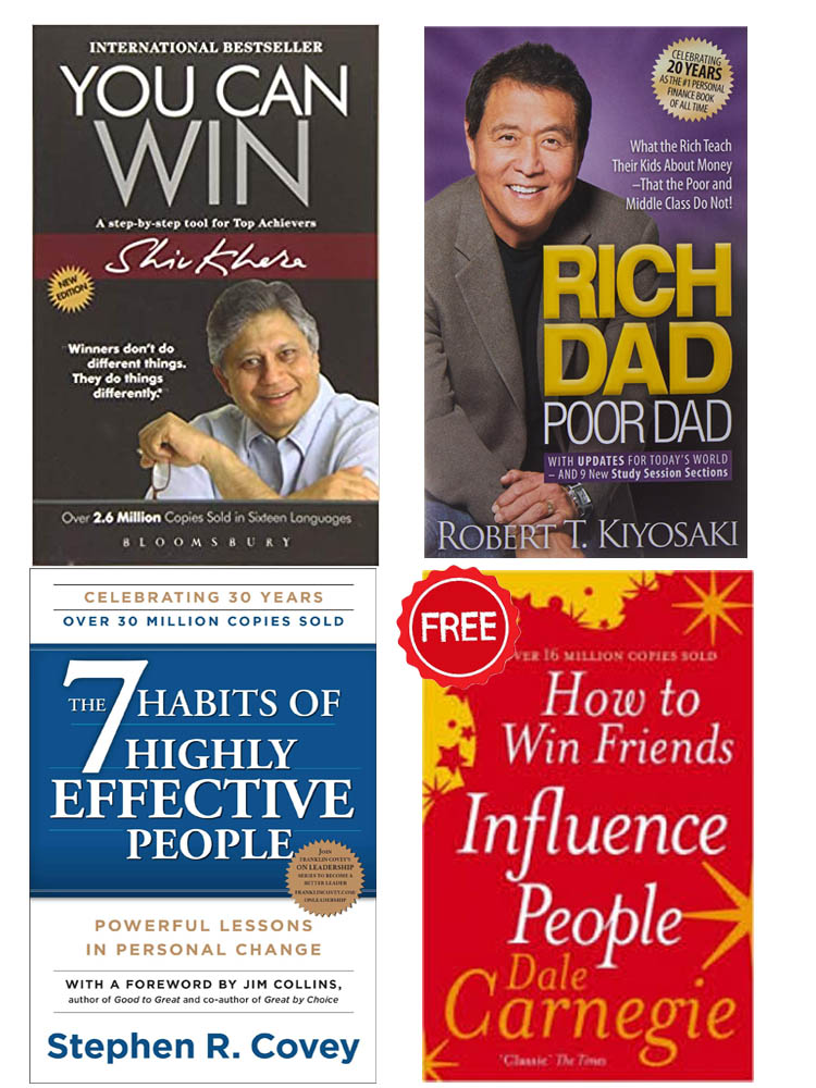Buy 3 Get 1 FREE You Can Win, The 7 Habits of Highly Effective People, How to Win Fiends and Influence People, Rich Dad Poor Dad