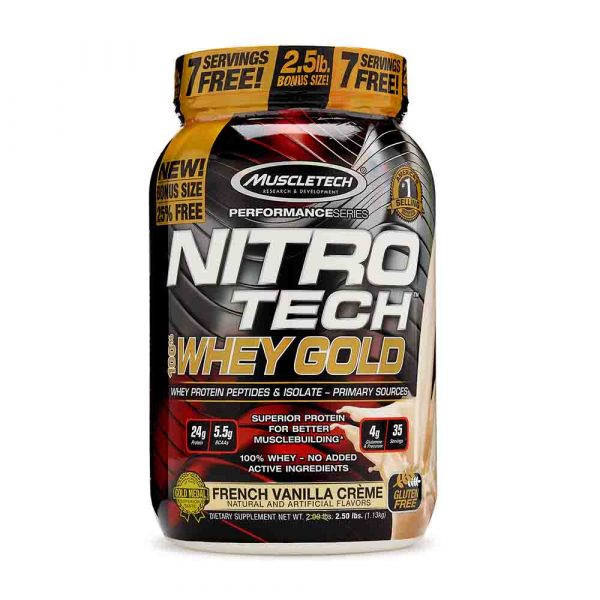 MuscleTech Nutrition Nitrotech 100% Whey Gold(Whey Protein Isolate and Peptides) - 2.2LBS